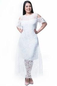 Δαντελένιο maxi φόρεμα εκρού