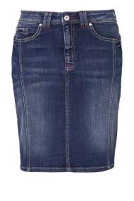 Jean denim blue mini φούστα με ξεβάμματα