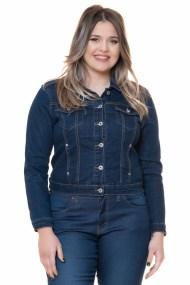 Jean jacket με τσέπες στο μπούστο σε dark blue denim χρώμα