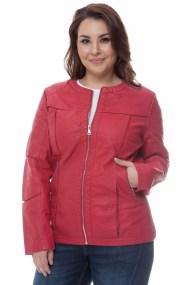 Leather like jacket με φάσες σε κόκκινο χρώμα