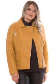 Leather like μακρυμάνικο jacket σε μουσταρδί χρώμα