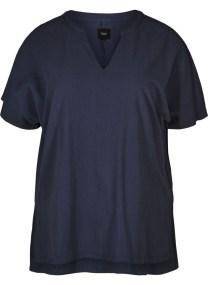 Λινή μπλε κοντομάνικη μπλούζα με μαο γιακά