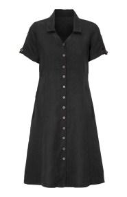 Λινό midi σεμιζιέ φόρεμα σε μαύρο χρώμα