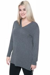 Μακρυμάνικο tricot μπλουζοφόρεμα σε γκρι χρώμα με V