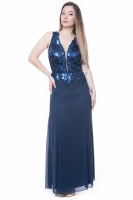 Maxi φόρεμα μπλε με μπούστο κεντημένο με παγέτες