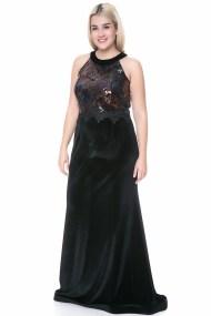 Maxi velvet φόρεμα με μπούστο σε μαύρο χρώμα