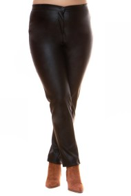 Μαύρο παντελόνι leather like με φερμουάρ