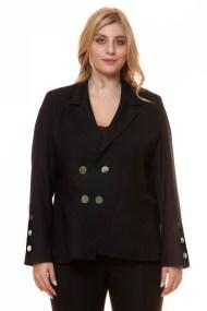 Μαύρο σταυροκούμπωτο σακάκι με χρυσά κουμπιά