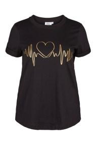 Μαύρο t-shirt με χρυσό τύπωμα heartbeat