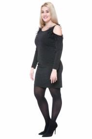 Midi μαύρο lurex φόρεμα με φτερά