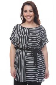 Μαύρο μπλουζοφόρεμα με λευκή ρίγα και κορδέλα