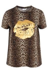 Leopard t-shirt με τύπωμα χρυσά χείλη