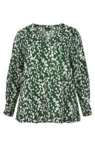 Λευκή μακρυμάνικη μπλούζα με πράσινα λουλούδια