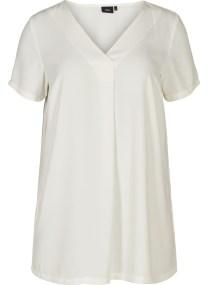 Λευκή μπλούζα με κουφόπιετα στο ντεκολτέ