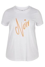Λευκό βαμβακερό t-shirt με Noir τύπωμα