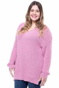 Ροζ πλεκτό μπλουζοφόρεμα με σχέδιο στα μανίκια