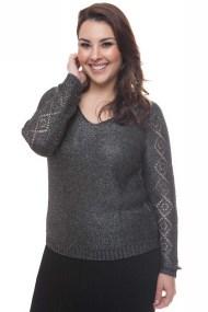 Ανθρακί πλεκτή μπλούζα με V λαιμόκοψη