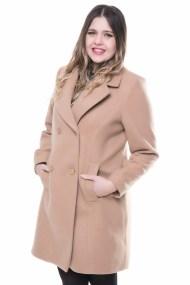 Παλτό βελούρ σε χρώμα ταμπά με σταυρωτά κουμπιά