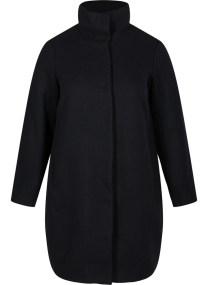 Μαύρη παλτοζακέτα με ψηλό γιακά