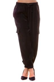 Μαύρο σατέν παντελόνι με φερμουάρ και τσέπες στο πλάι