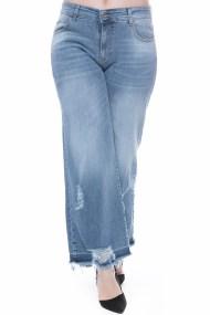 Jean παντελόνα με ξέφτια σε denim blue χρώμα