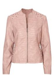 Πούδρα leather like jacket με τρουκς και ραφές