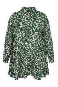 Λευκή μακρυμάνικη πουκαμίσα με πράσινα λουλούδια