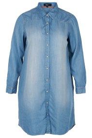 Τζιν πουκαμισοφόρεμα μακρυμάνικο σε denim blue χρώμα