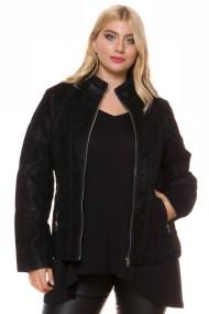 Σουέντ jacket με φερμουάρ σε μαύρο χρώμα