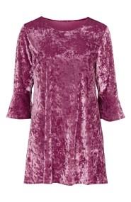 Βελουτέ μπλουζοφόρεμα με 3/4 μανίκια σε ροζ χρώμα