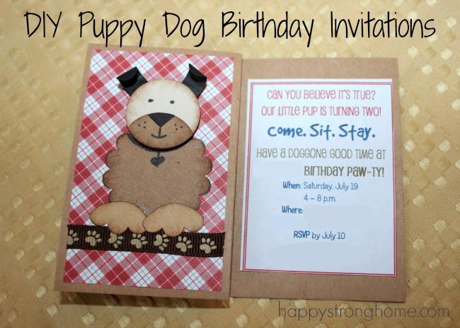 diy puppy dog birthday invitation
