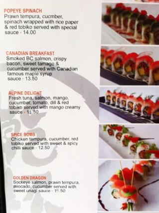 Kanpai's menu