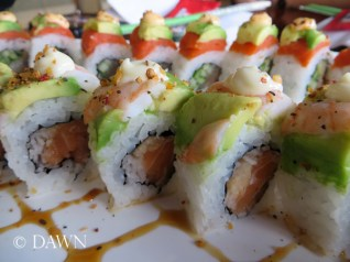 Zesty Avalanche Roll in the foreground from Big Catch Sushi in Kingsland Market