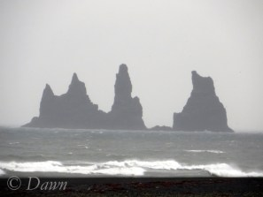 The cliffs and black sand beaches at Vik