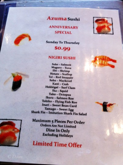 Azuma Sushi special anniversary menu