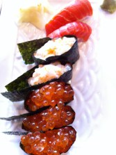 Chopped scallop, Ikura and salmon nigiri from Azuma Sushi