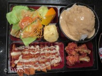 my companion's bento box from Itami Sushi in Victoria