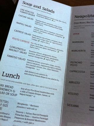 Famoso Neapolitan Pizzeria menu