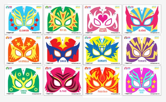 12 bright and colorful lucha libre mask patterns to print+make!