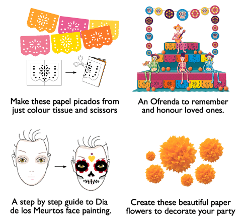 craft ideas and tutorials for a day fof the dead party