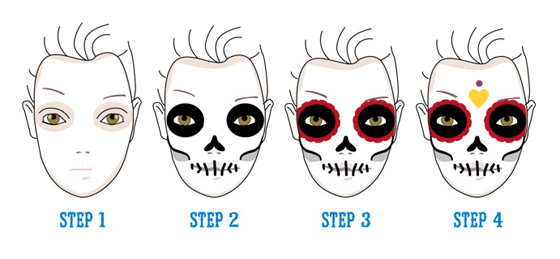 4 step skull face paint tutorial illustration halloween make up