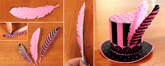 instructions on how to make a mini paper top hat for burlesque costumes