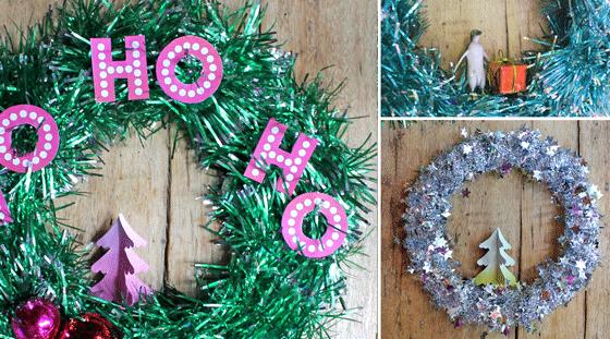Make christmas tinsel wreath decoration watch diy video