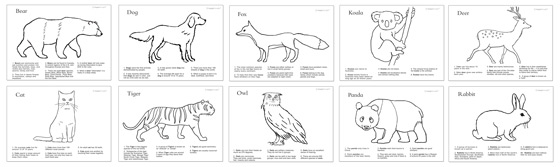 Color In Worksheets Learn Color In Animal Fact Sheets
