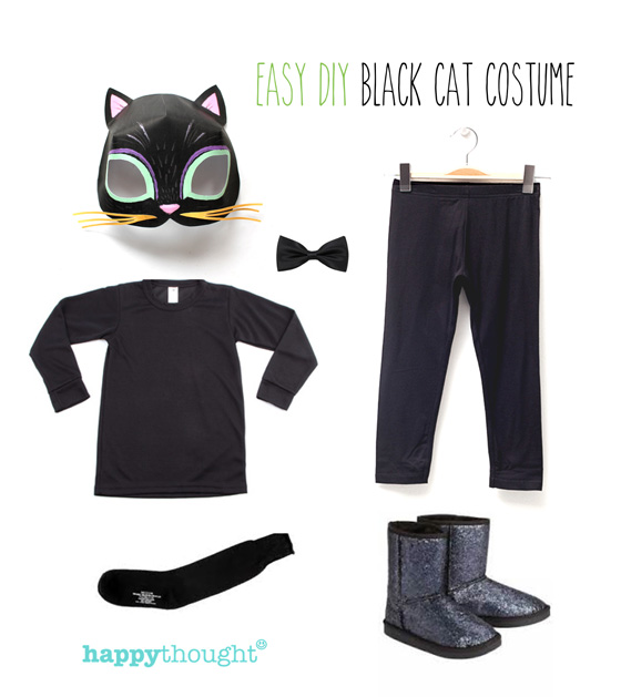 DIY black cat costume ideas + cat mask instant printable!