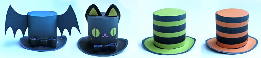 4 mini paper top hats for a Halloween dress up party
