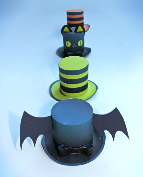 Halloween can be cute too! Mini paper top hats for Halloween parties!