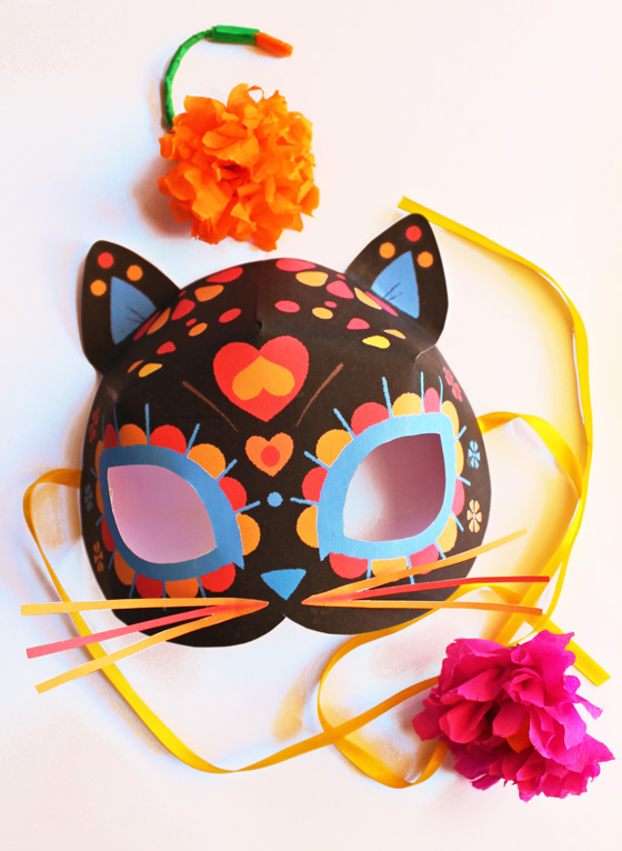 photograph regarding Et Mask Printable called Cat mask template for Dia de los Muertos - Working day of the useless