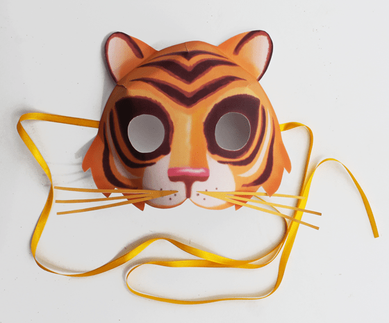 Tiger Animal mask: 10 Printable Animals worksheets and patterns for class!