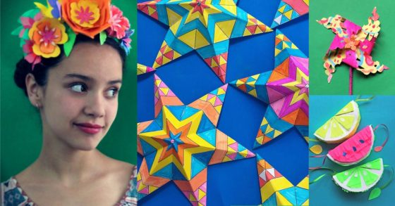 5 de Mayo Holiday craft activity worksheets: Papel picado, pinatas, color in Mexican paper stars and colored paper flowers!